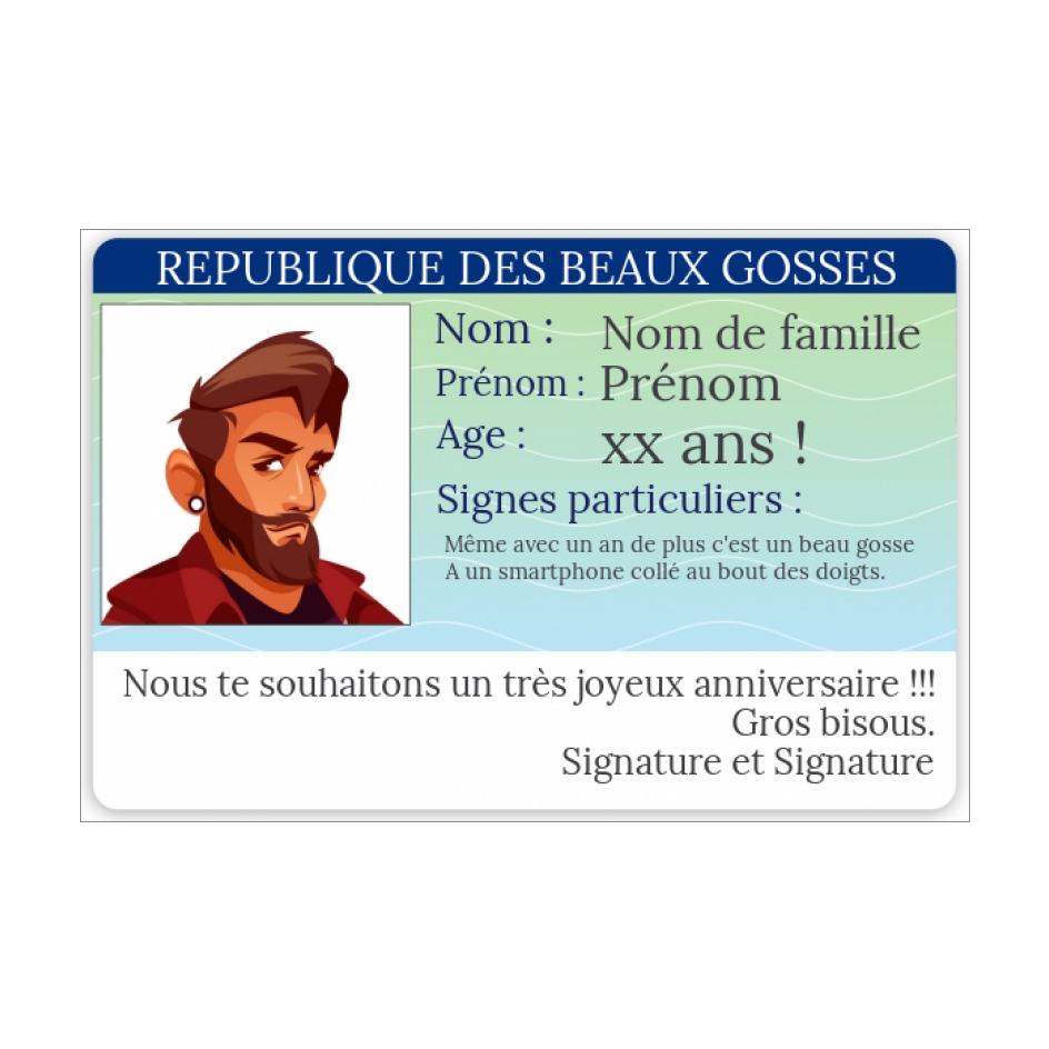 Carte Anniversaire Carte Identite Humour 18 Gratuit A Imprimer Carte 3267