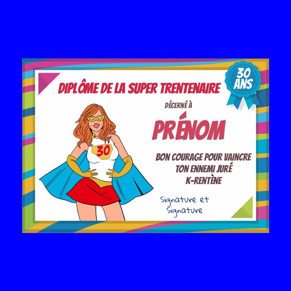 Carte Anniversaire 30 Ans Humour Super A Imprimer Carte 3273