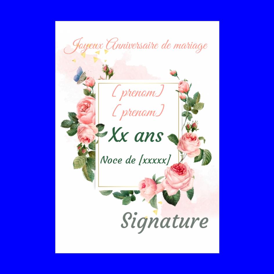 Carte Anniversaire Mariage Fleur Rose Noce Gratuit A Imprimer Carte 3361