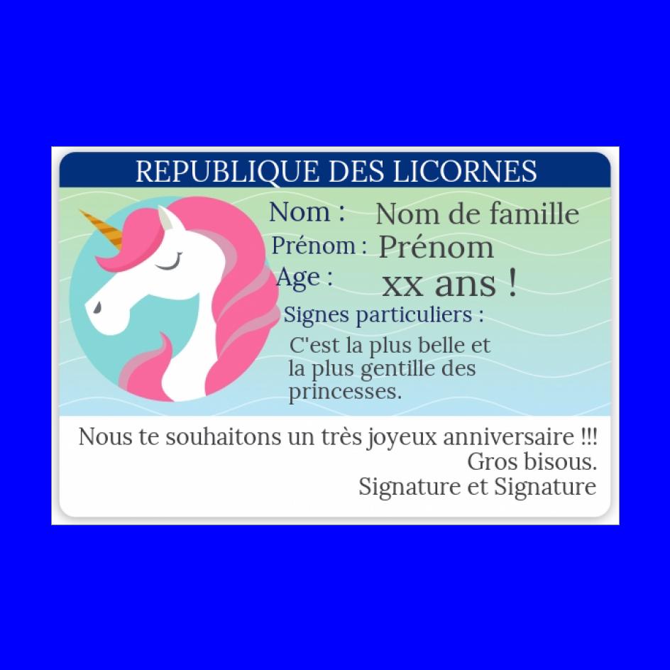 Carte Anniversaire Carte Identite Humour Licorne Gratuit A Imprimer Carte 3311