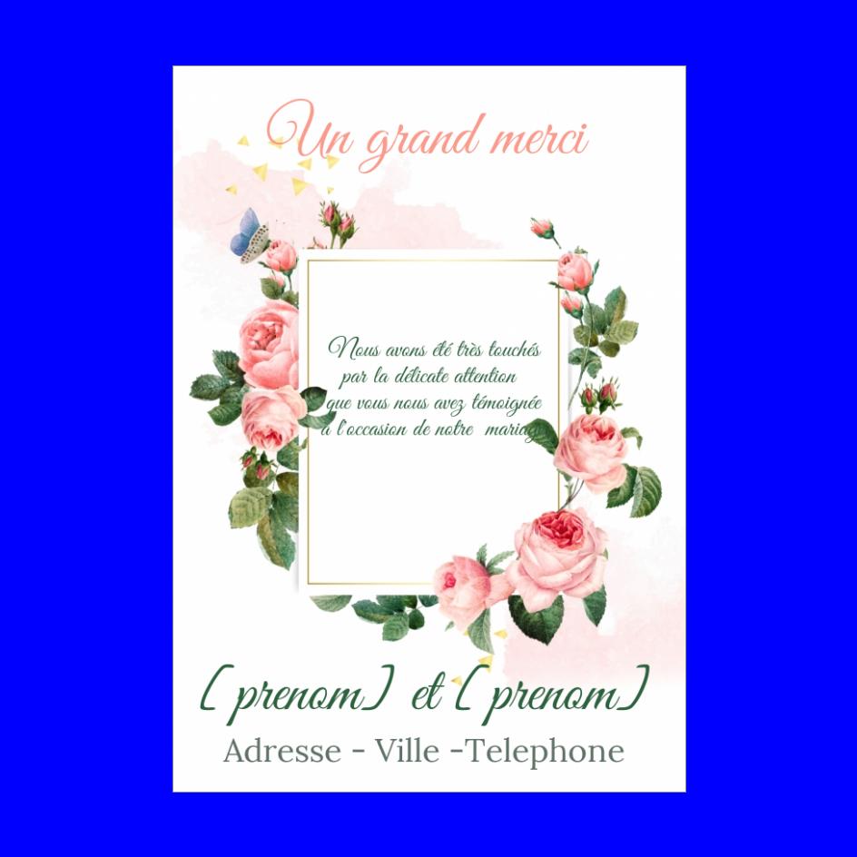 Carte Remerciement Mariage Fleur Rose Merci Gratuit A Imprimer Carte 3360
