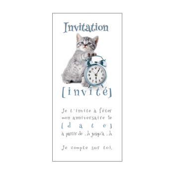 carte invitation anniversaire chat blanc animaux