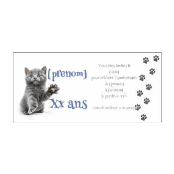 carte invitation anniversaire chat humour blanc gris animaux