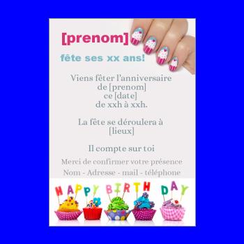 carte invitation anniversaire enfant gateau