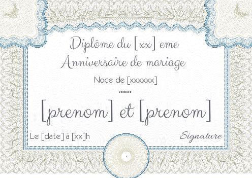 Diplome Anniversaire Mariage Noce Gratuit à Imprimer Carte 406