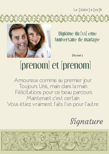 Diplome Anniversaire Mariage Vert Avec Photo à Imprimer