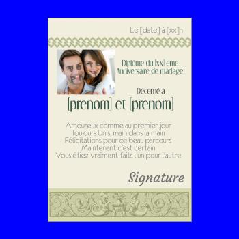 diplome anniversaire mariage vert