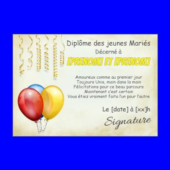 diplome mariage ballon jaune rouge