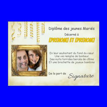 diplome mariage humour jaune