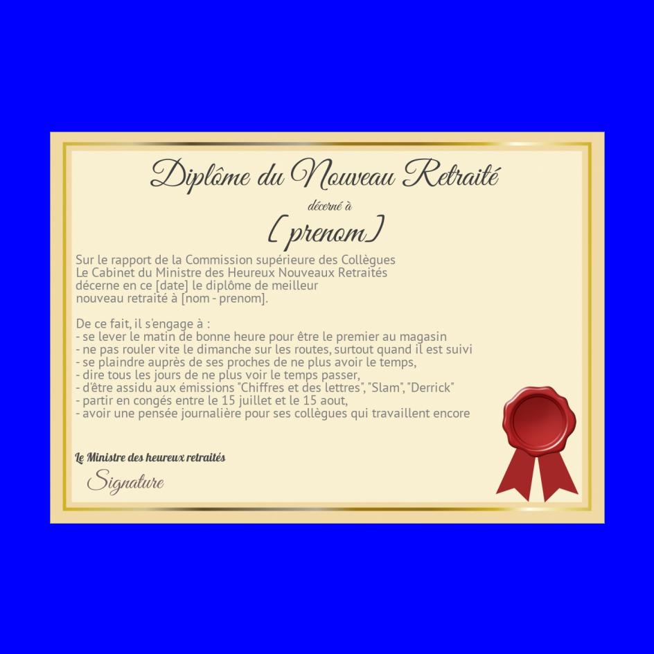 Diplome Retraite Humour Jaune A Imprimer Carte 1115