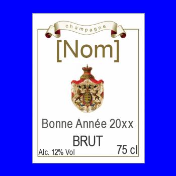 etiquette bouteille nouvel an repas champagne marron blason alcool