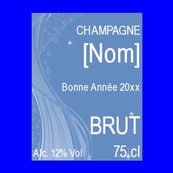 etiquette bouteille nouvel an repas champagne bleu