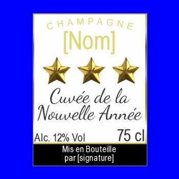 etiquette bouteille nouvel an repas champagne jaune noir etoile