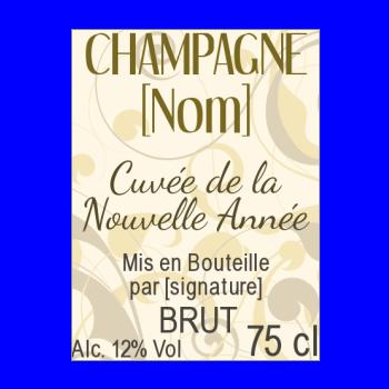etiquette bouteille nouvel an repas fleur champagne jaune marron
