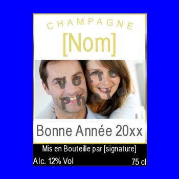 etiquette bouteille nouvel an repas champagne jaune noir alcool