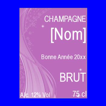 etiquette bouteille nouvel an repas champagne mauve alcool