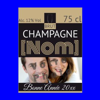 etiquette bouteille nouvel an repas champagne noir alcool