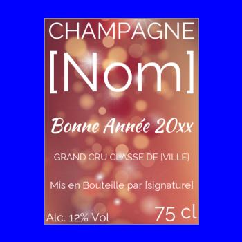 etiquette bouteille nouvel an repas champagne etoile orange