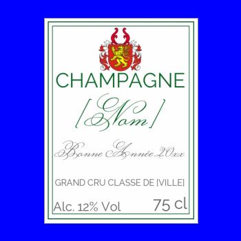 etiquette bouteille nouvel an repas champagne vert rouge blason
