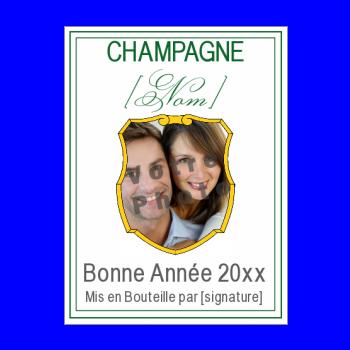 etiquette bouteille nouvel an repas champagne vert blason