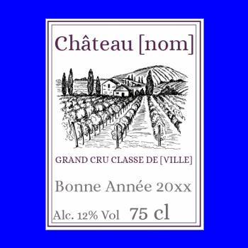 etiquette bouteille nouvel an repas vin mauve chateau