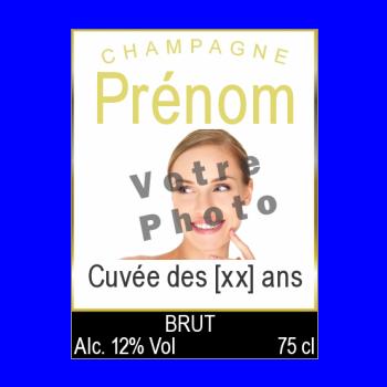 etiquette anniversaire bouteille champagne blanc alcool