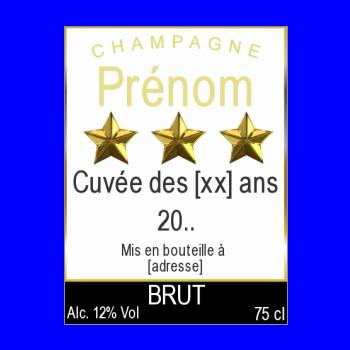 etiquette anniversaire bouteille champagne blanc etoile alcool