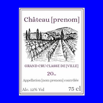 etiquette anniversaire bouteille vin blanc chateau