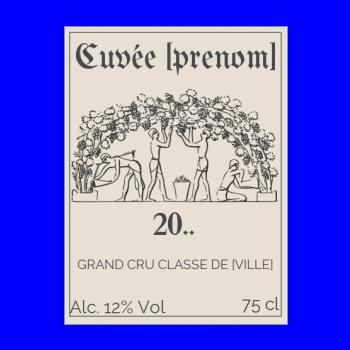 etiquette anniversaire bouteille vin marron