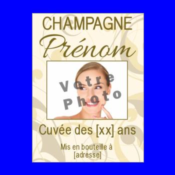 etiquette anniversaire bouteille champagne jaune marron alcool