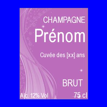 etiquette anniversaire bouteille champagne mauve alcool