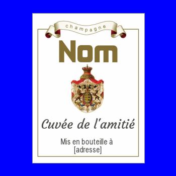 etiquette bouteille champagne marron alcool