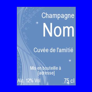 etiquette bouteille champagne bleu alcool
