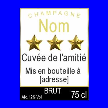 etiquette bouteille champagne jaune noir etoile alcool