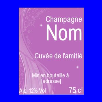 etiquette bouteille champagne mauve alcool