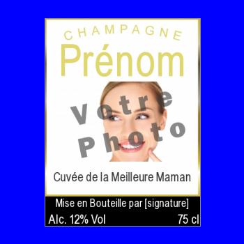 etiquette bouteille meilleur maman champagne fete jaune noir