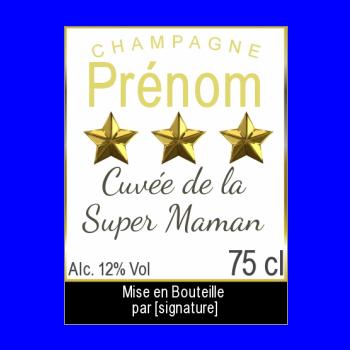 etiquette bouteille meilleur maman champagne fete jaune etoile alcool