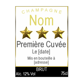 etiquette bouteille mariage champagne etoile alcool