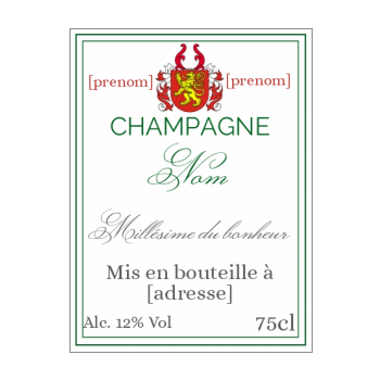 etiquette bouteille champagne rouge blanc blason alcool