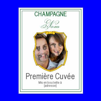 etiquette bouteille champagne vert blanc blason alcool