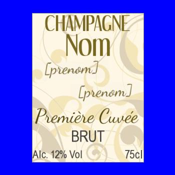 etiquette bouteille champagne jaune marron alcool