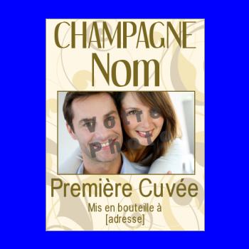 etiquette bouteille mariage champagne jaune marron alcool