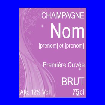 etiquette bouteille mariage champagne mauve alcool