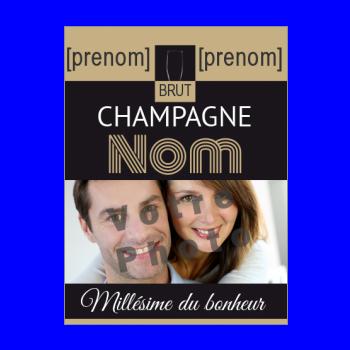 etiquette bouteille mariage champagne noir marron alcool