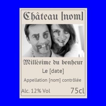 etiquette bouteille mariage vin marron alcool