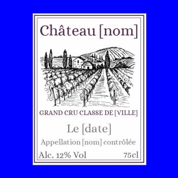 etiquette bouteille mariage vin rouge chateau alcool