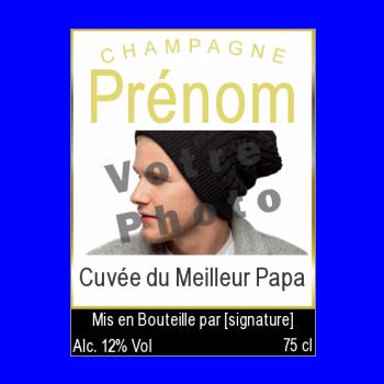 etiquette bouteille papa champagne fete jaune noir alcool