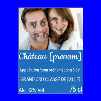 etiquette bouteille vin bleu alcool