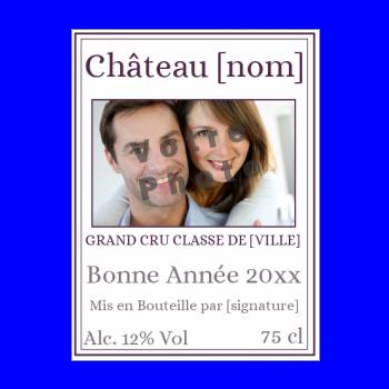 etiquette bouteille nouvel an repas vin mauve