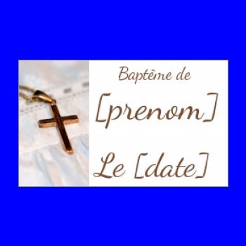 etiquette cadeau bapteme marron blanc croix